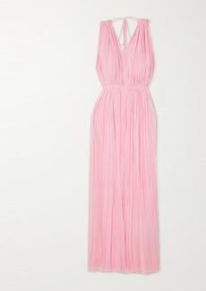 Elena Makri Nemea Open-back Draped Silk-tulle Maxi Dress