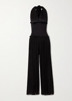 Elena Makri Tyche Draped Shirred Silk-tulle Halterneck Jumpsuit