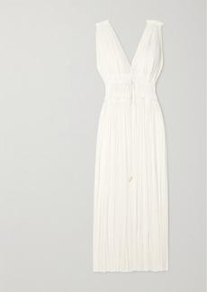 Elena Makri Vereniki Draped Silk-tulle Maxi Dress