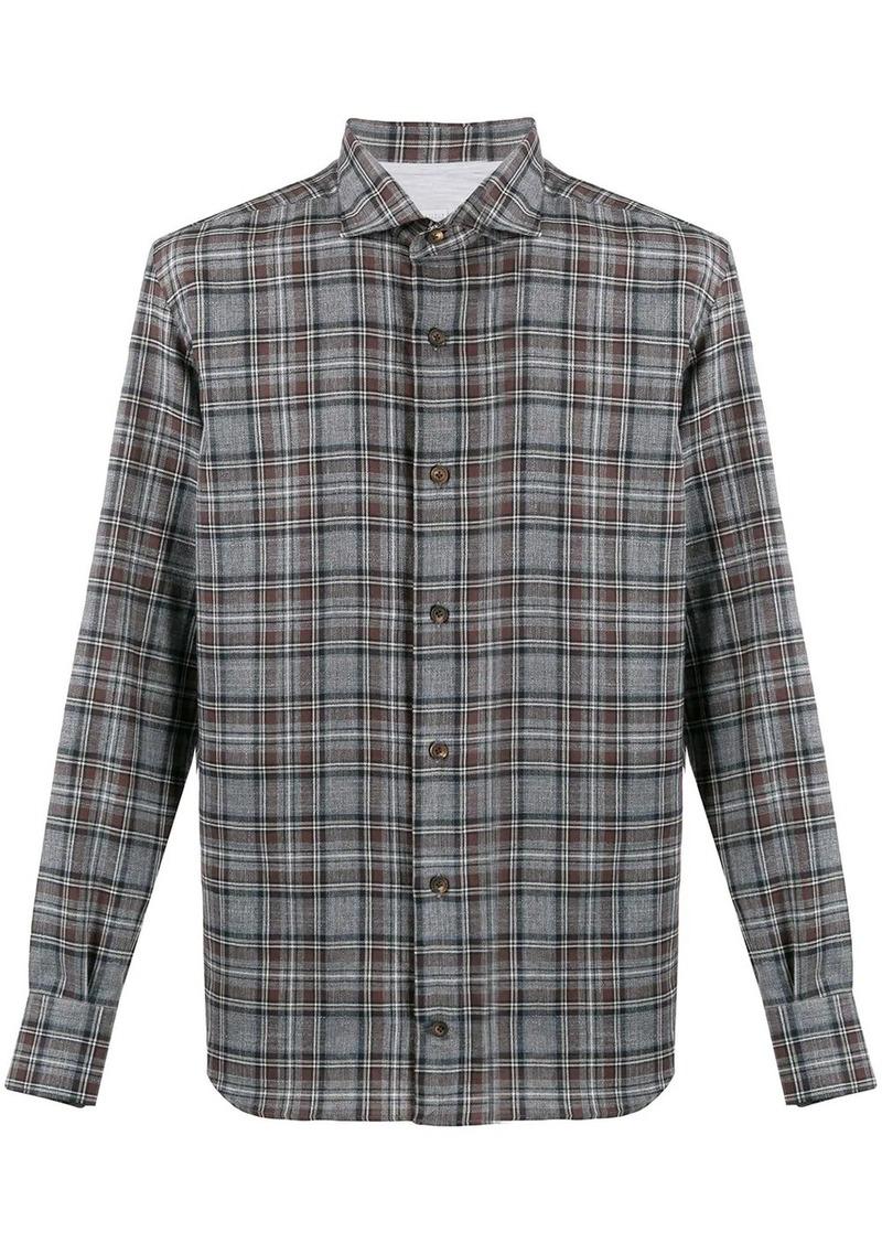 Eleventy check long-sleeve shirt