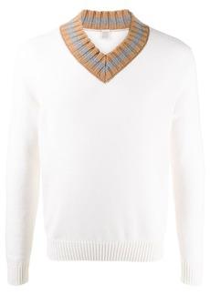 Eleventy contrast-collar jumper