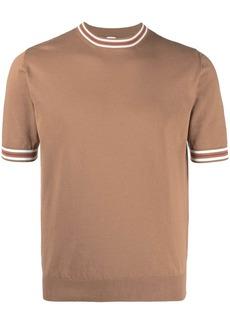 Eleventy contrast-trim short-sleeve sweater