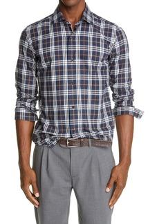Eleventy Brushed Cotton Plaid Sport Shirt