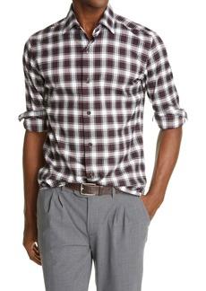 Eleventy Check Cotton Flannel Button-Up Shirt