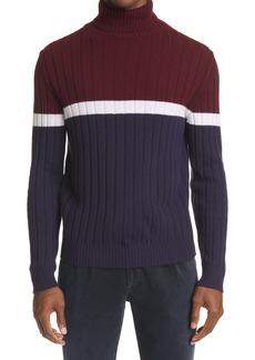 Eleventy Colorblock Rib Turtleneck Wool Sweater