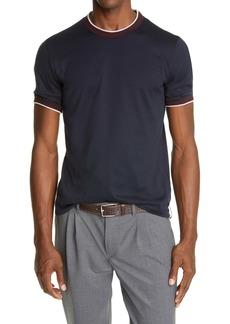 Eleventy Contrast Trim Giza Cotton T-Shirt