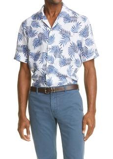 Eleventy Palm Leaf Short Sleeve Linen Button-Up Shirt