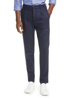 Eleventy Pleated Solid Stretch Wool & Cashmere Dress Pants