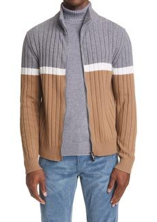 Eleventy Rib Colorblock Zip Merino Wool Cardigan