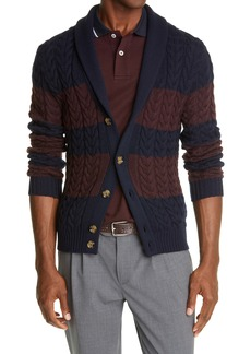 Eleventy Rugby Stripe Shawl Collar Wool Cardigan