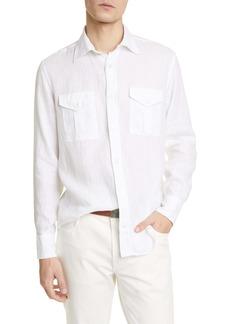 Eleventy Safari Slim Fit Linen Button-Up Shirt