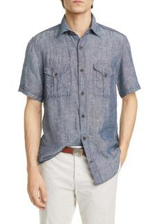 Eleventy Safari Slim Fit Short Sleeve Linen Button-Up Shirt
