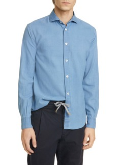 Eleventy Slim Fit Chambray Button-Up Shirt