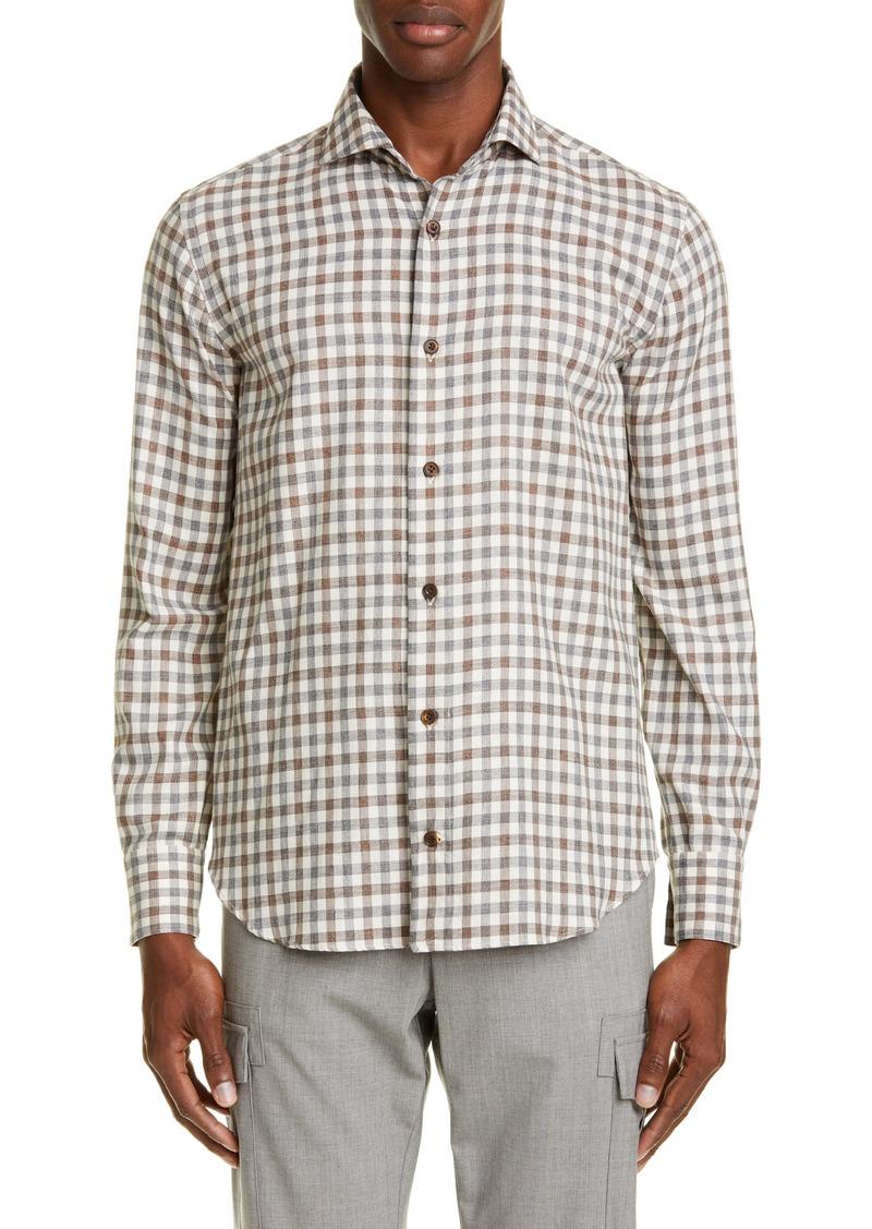 Eleventy Slim Fit Check Button-Up Shirt