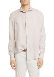 Eleventy Slim Fit Linen Button-Up Shirt