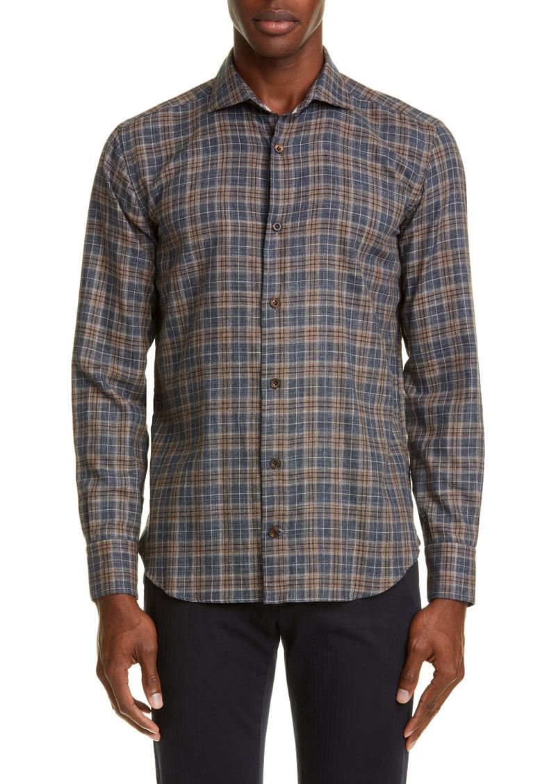 Eleventy Slim Fit Plaid Button-Up Shirt