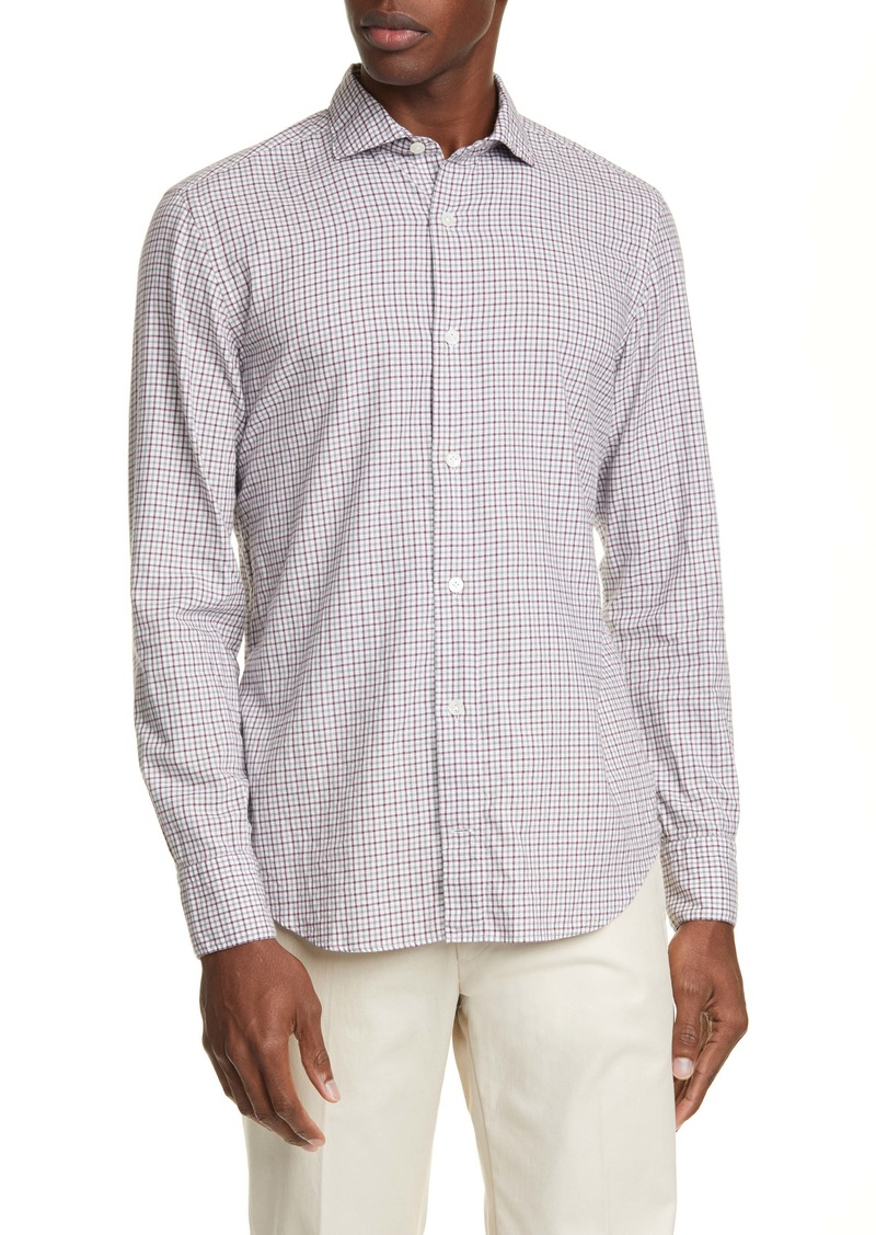 Eleventy Trim Fit Check Button-Up Shirt