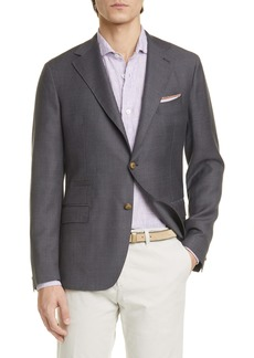 Eleventy Trim Fit Solid Wool Blazer