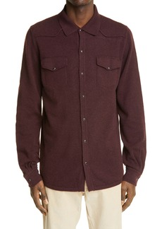 Eleventy Western Snap Cashmere Shirt