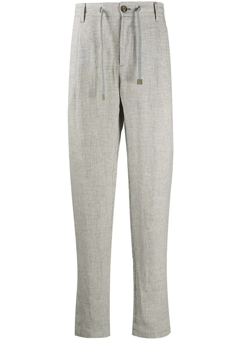 Eleventy high-waisted checked trousers