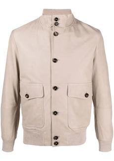 Eleventy leather patch-pocket bomber jacket