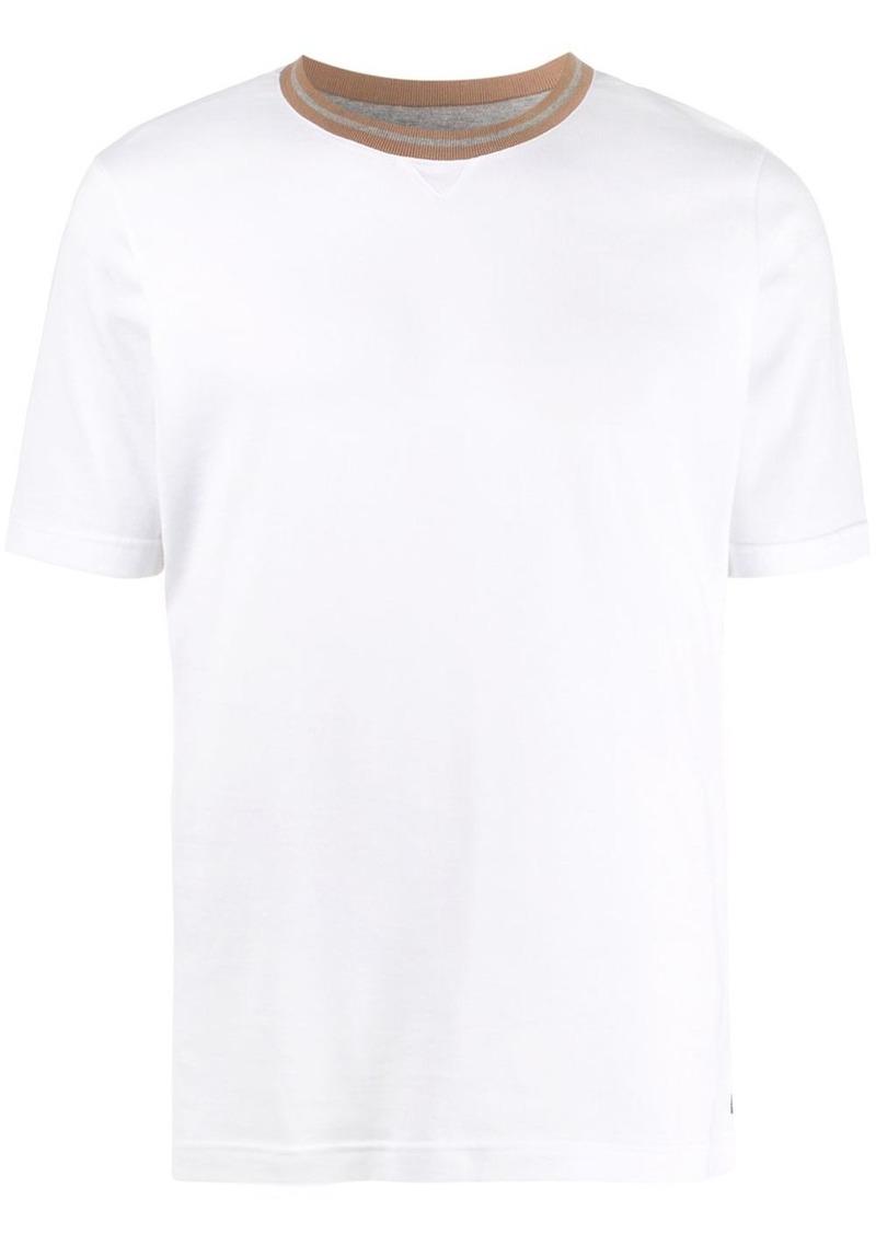 Eleventy regular-fit contrasting-neck T-shirt