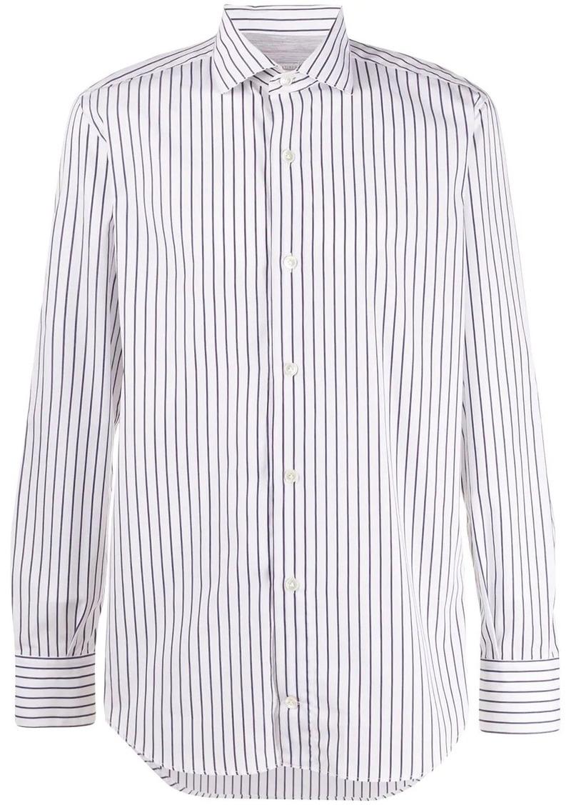 Eleventy striped cutaway-collar shirt