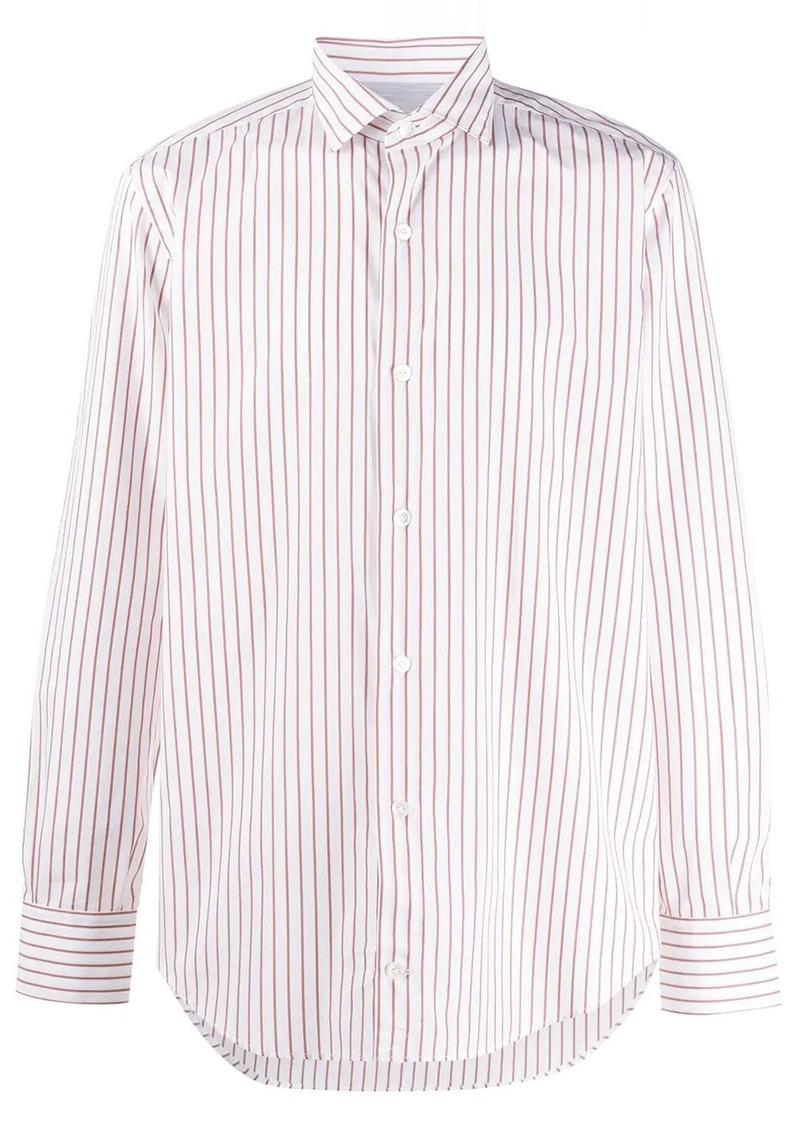 Eleventy striped spread-collar shirt