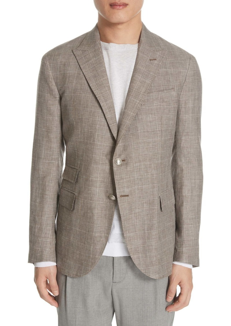 Eleventy Trim Fit Plaid Wool Blend Sport Coat