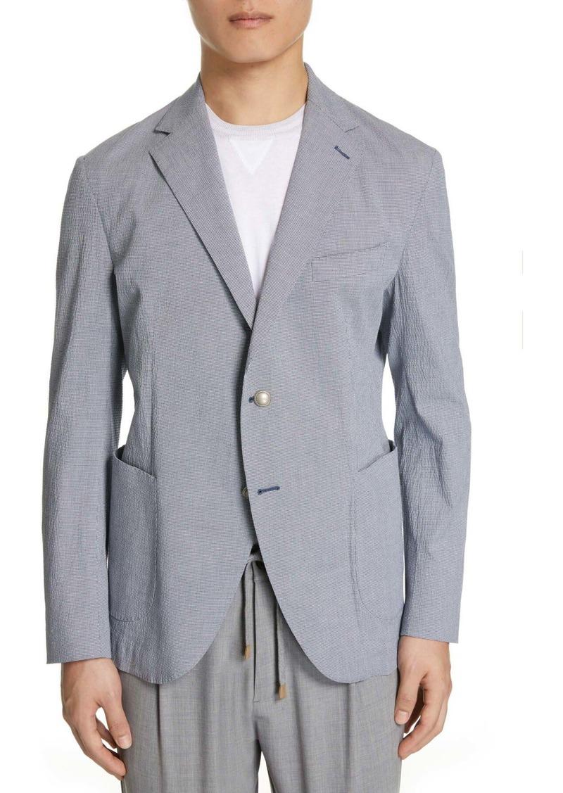 Eleventy Trim Fit Stretch Seersucker Cotton Sport Coat