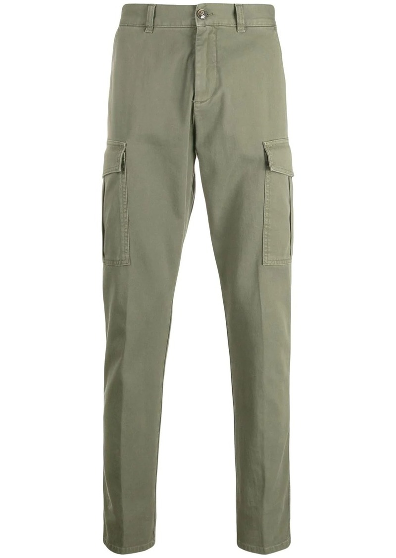 Eleventy trimmed tapered-leg cargo trousers