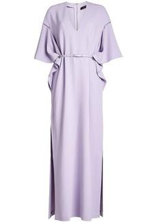 Elie Saab Belted Maxi Crepe Dress