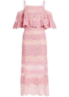 Elie Saab Cold-Shoulder Lace Midi Dress