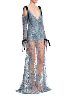 Elie Saab Cold Shoulder Sheer Embroidered Gown