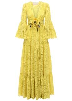Elie Saab Cotton Blend Embroidered Long Dress