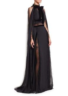 Elie Saab Crepe Georgette & Lace Cape Gown