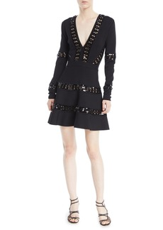 Elie Saab Deep-V Long-Sleeve Fit-and-Flare Cocktail Dress w/ Macrame Trim