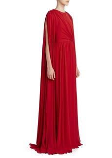 Elie Saab Drape Sleeve Crepe Gown