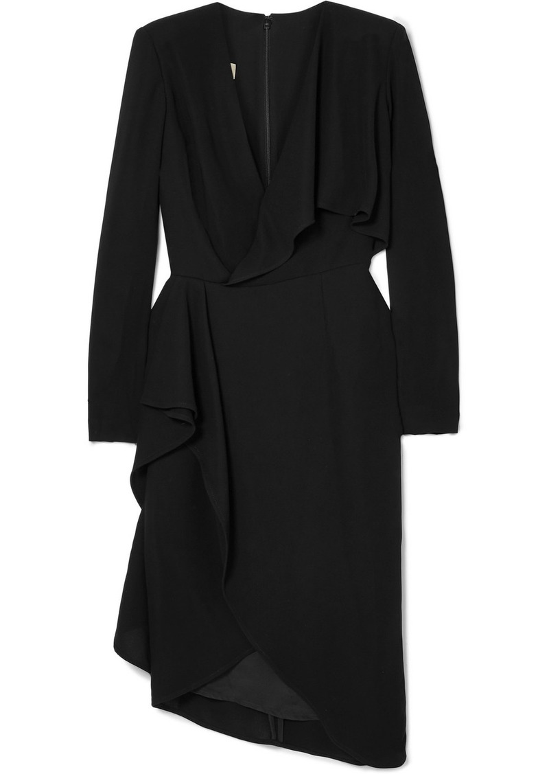 Elie Saab Draped Wrap-effect Cady Dress