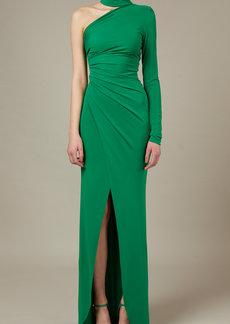 Elie Saab - Women's Draped Scarf-Detailed Jersey Maxi Dress - Green - Moda Operandi