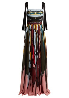 Elie Saab Abstract-print crepe gown