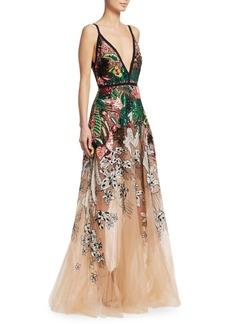 Elie Saab Beaded Floral Gown