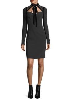 Elie Saab Cady & Velvet Necktie Cocktail Dress