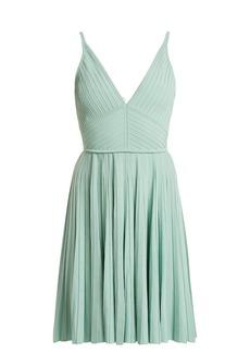 Elie Saab Deep V-neck pleated-knit mini dress
