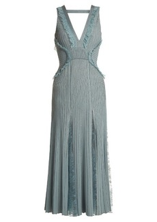 Elie Saab Deep-V neck ribbed-knit midi dress