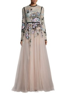 Elie Saab Floral-Embroidered Long-Sleeve Gown