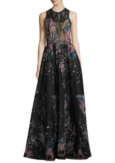 Elie Saab Floral-Embroidered Tulle Evening Gown