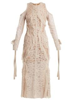 Elie Saab Fluted-hem floral-lace dress
