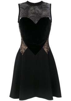 Elie Saab heart motif lace insert dress