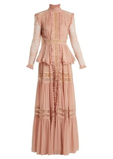 Elie Saab High-neck lace-insert georgette gown